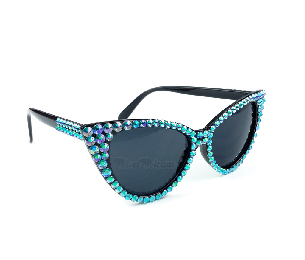 'LAGOON' Turquoise and Black Cat-Eye Sunglasses
