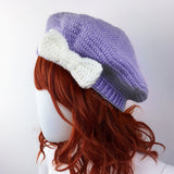 Lilac & White Bow Beret - Custom Colour Vintage Inspired Crochet Hat by VelvetVolcano