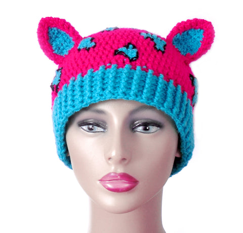 Leopard Kitty Beanie, Fingerless Gloves & Scarf Set