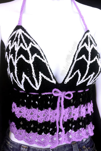 Black, Lilac (Pastel Purple) and White Spider Web Halter Neck Crochet Top - Custom Colour Goth Summer Top
