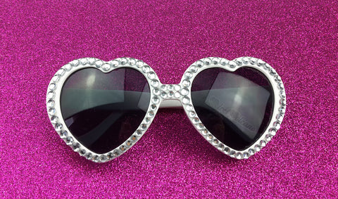 MARILYN White & Silver Heart Shaped Sunglasses