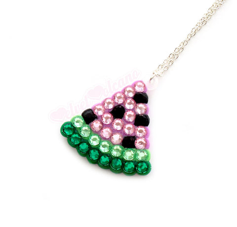 Mini Watermelon Slice Necklace by VelvetVolcano