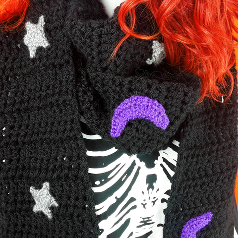 Celestial Crescent Moon & Stars Pattern Chunky Crochet Scarf with Tassels by VelvetVolcano