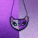 NecroKitty Necklace - Rhinestone Encrusted Sparkly Frankenstein's Monster Inspired Cat Necklace in Lilac, Violet, Hot Pink and Black Crystals on a choice of silver or black plated chain by VelvetVolcano