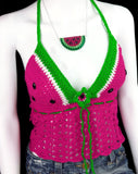Neon Pink, White and Neon Green Crochet Watermelon Design Halter Top - Vegan Fruit Themed Summer Clothing