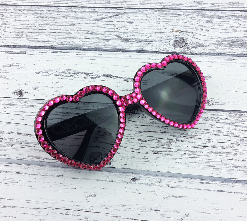 Neon Pink Rhinestone Encrusted Black Heart Shaped Sunglasses