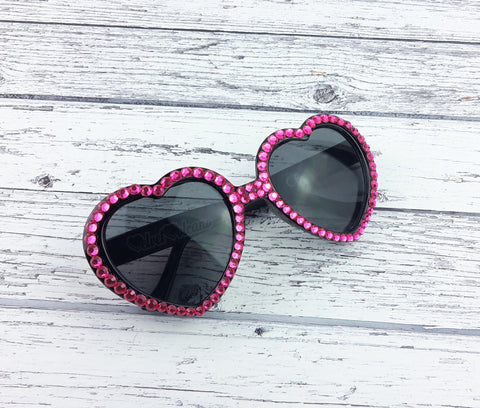 VelvetVolcano Hot Pink & Black Crystal Sunglasses