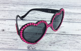 VelvetVolcano Sparkly Neon Pink & Black Heart Shaped Sunglasses