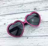 VelvetVolcano Neon Pink Rhinestone Encrusted Black Heart Shaped Sunglasses