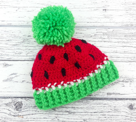 Red, Neon Green, White and Black Acrylic Watermelon Pom Pom Hat for Babies and Children
