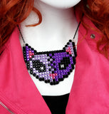 VelvetVolcano NecroKitty Necklace - Purple Zombie and Frankenstein's Monster Inspired Cat Necklace, super sparkly and encrusted with glitzy rhinestones