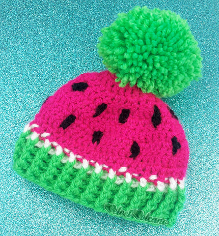 Watermelon Pom Pom Beanie in Neon Pink with Neon Green Pom Pom and Rib and Black Seed Details