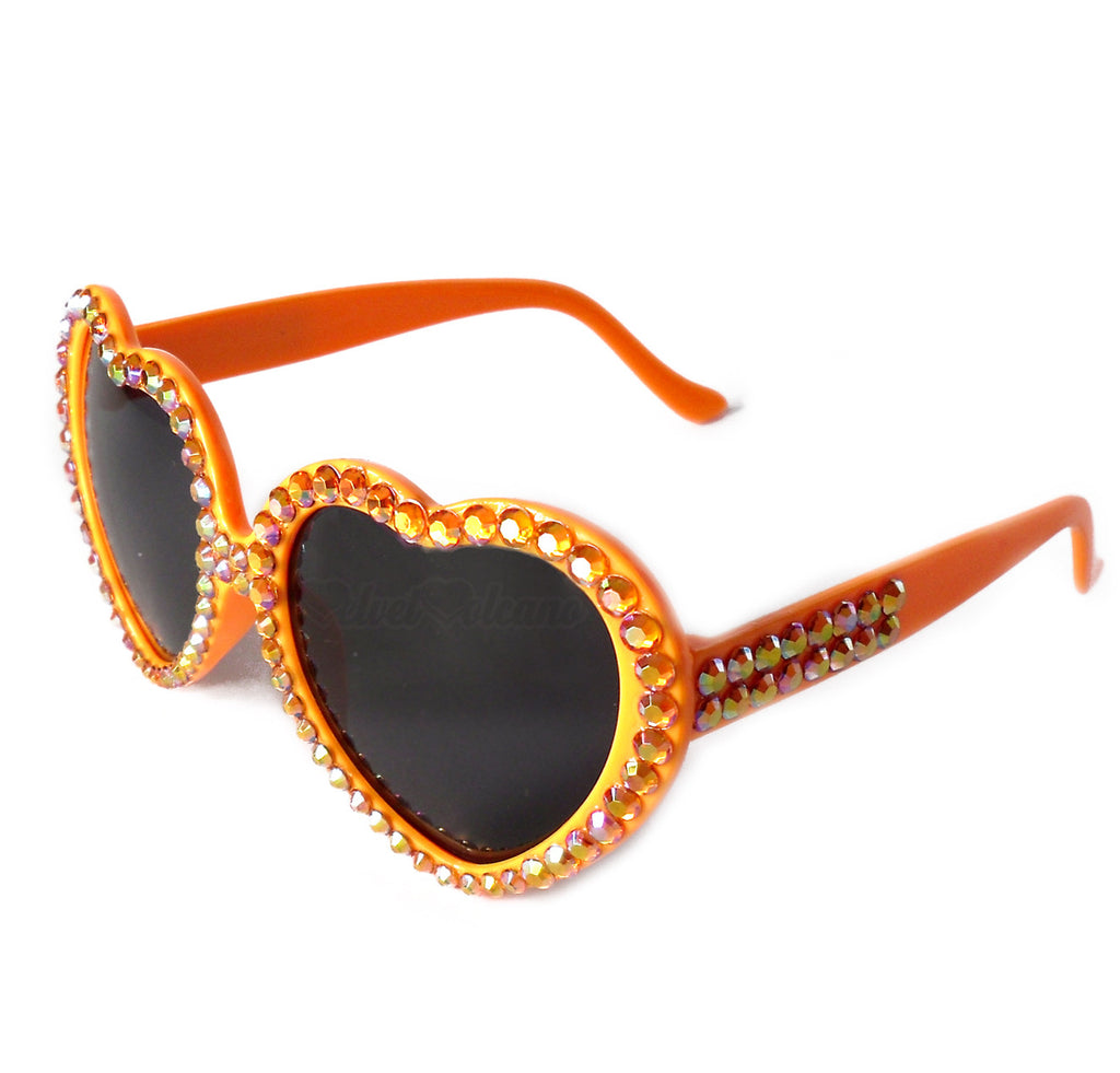 'CITRUS' Orange Heart Shaped Sunglasses by VelvetVolcano