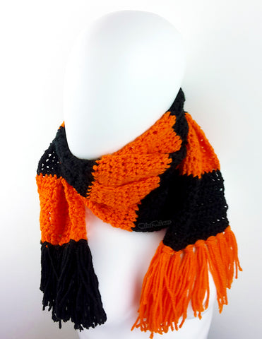 Chunky Crochet Orange & Black Striped Long Tassel Scarf by VelvetVolcano