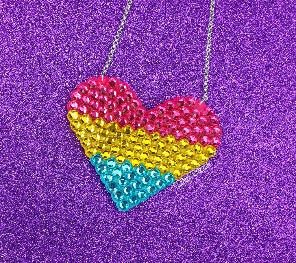 Pansexual Love-Heart Necklace - Hot Pink, Yellow and Turquoise Rhinestone Encrusted Sparkly Pansexual Pride Heart Necklace by VelvetVolcano