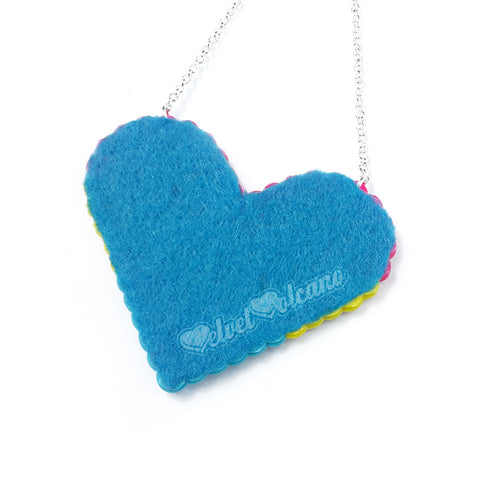 Felt backing for VelvetVolcano Pansexual Pride Love-Heart Necklace