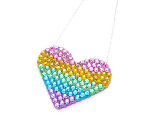 Pastel Rainbow Striped Love-Heart Necklace by VelvetVolcano