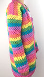 Side view of Pastel Rainbow Striped Crochet Cardigan by VelvetVolcano