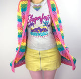 Pastel Rainbow Striped Crochet Cardigan by VelvetVolcano