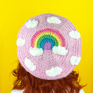 Pastel Rainbow Cloud Beret - Teen Girls and Womens Baby Pink Crochet Hat with Pastel Rainbow Cloud Motif and Repeating White Cloud Pattern by VelvetVolcano