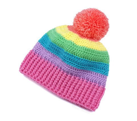 Pastel Rainbow Striped Pom Pom Beanie