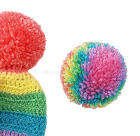 Pastel Rainbow Striped Fitted Pom Pom Beanie in Peach, Daffodil Yellow, Spearmint Green, Turquoise, Lilac and Bubblegum Pink - Crochet Kawaii Bobble Hat by VelvetVolcano