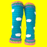 Pastel Rainbow and Turquoise Sky with White Cloud Pattern Leg Warmers by VelvetVolcano