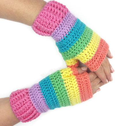 Pastel Rainbow Fingerless Gloves