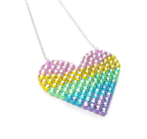 Pastel Rainbow Striped Love-Heart Necklace