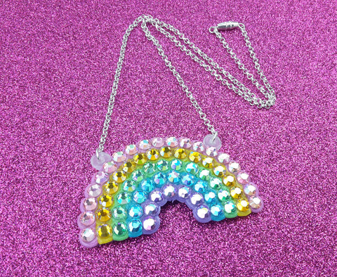 Sparkly Rhinestone Encrusted Pastel Rainbow Necklace with Silver Plated Chain and Torpedo / Barrel Clasp, handmade by VelvetVolcano