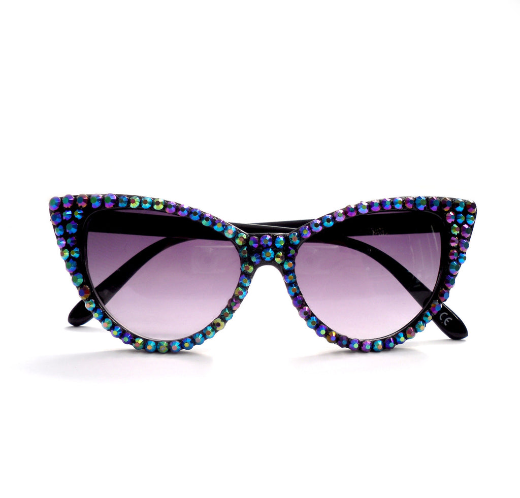 'PEACOCK' Black Cat Eye Sunglasses by VelvetVolcano
