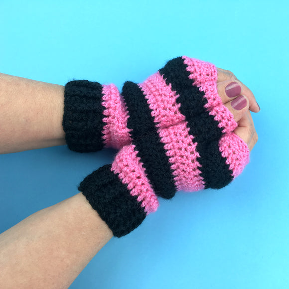 VelvetVolcano Bubblegum Pink & Black Striped Fingerless Gloves crocheted from acrylic yarn