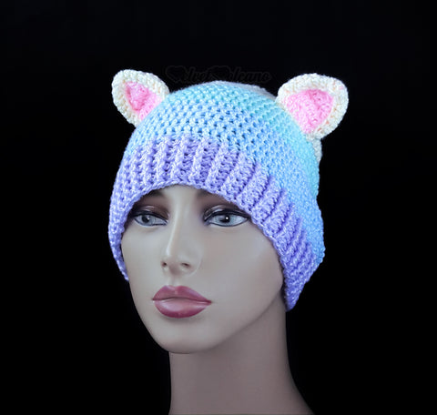 Glitzy Pastel Rainbow Kitty Beanie