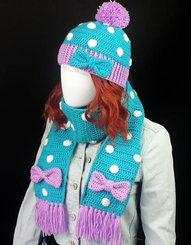 Polka Dot Fitted Beanie with Pom Pom and Bow Detail in Turquoise, Lilac and White and matching Polka Dot Scarf with Tassels and Bow Detail by VelvetVolcano