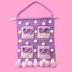 Lilac Polka Dot Crochet Wall Hanging with Baby Pink Bow Pockets and Pastel Pink Pom Pom Trim - Girly Kawaii Organiser Home Decor by VelvetVolcano