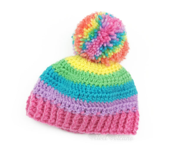 Pastel Rainbow Striped Pom Pom Beanie - Cute Candy Coloured Bobble Hat - Kawaii Baby Hat - Rainbow Kids Beanie - in sizes 3-6 Months - 8-12 Years by VelvetVolcano