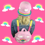 Super Kawaii Fairy Kei Baby Pink Crochet Bucket Hat with Pastel Rainbow Cloud Motif and Pastel Rainbow Striped Brim and Pastel Rainbow Cloud Circular Back Packby VelvetVolcano