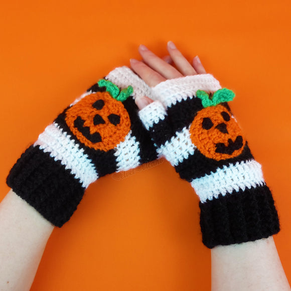 Pumpkin Stripe Fingerless Gloves