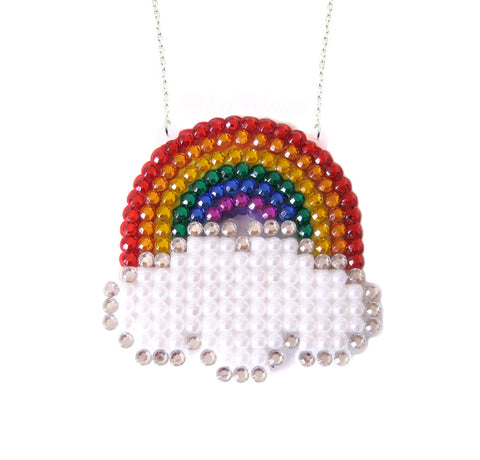 Bright Rainbow Cloud Necklace by VelvetVolcano
