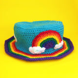 Rainbow Cloud Bucket Hat - Colourful Cloudy Sky & Rainbow Stripe Unisex Teen & Adult Crochet Sun Hat by VelvetVolcano