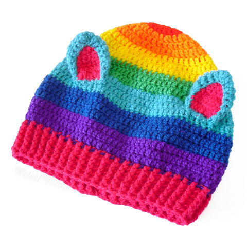 Rainbow Kitty Beanie