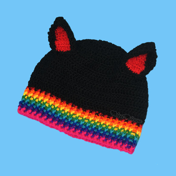 Rainbow Rib Kitty Beanie