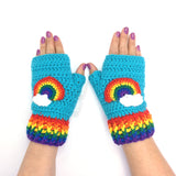 Chunky Turquoise Crochet Fingerless Gloves with Rainbow & Cloud Pattern and Rainbow Stripe Rib by VelvetVolcano