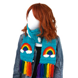 Chunky Turquoise Crochet Scarf with Rainbow & Cloud Pattern and Rainbow Tassels by VelvetVolcano