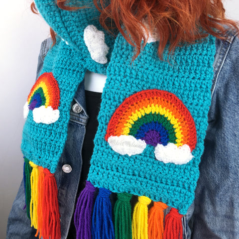 Rainbow Cloud Chunky Scarf & Fingerless Gloves Set by VelvetVolcano