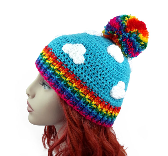 Bright Rainbow Cloud Pom Pom Beanie