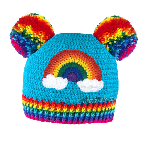 Rainbow Cloud Double Pom Pom Beanie