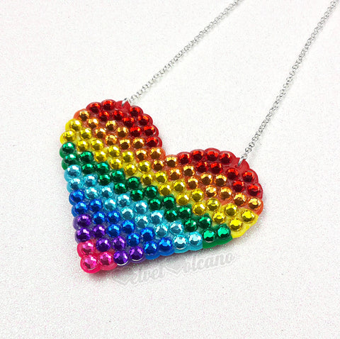 Rainbow Striped Love-Heart Necklace