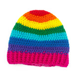 Rainbow Striped Baby Beanie - Kids Multicoloured Crochet Hat by VelvetVolcano
