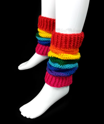 Crochet Rainbow Leg Warmers - Handmade from 100% vegan, soft premium acrylic yarn by VelvetVolcano
